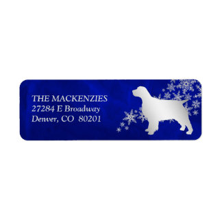 Blue Winter Spaniel Return Address