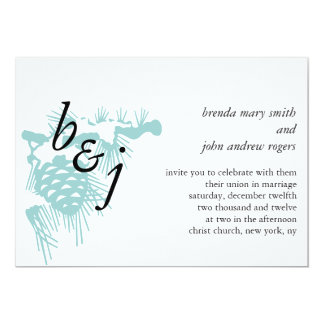 Blue Winter Wedding Invitation Monograms