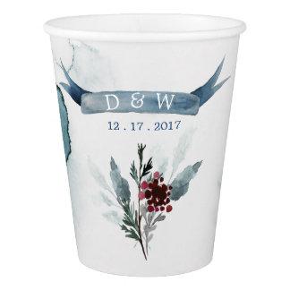 Blue Winter Wedding paper cup