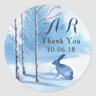 Blue Winter Winter Rabbit Monogram Wedding Classic Round Sticker