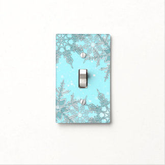 Blue Winter Wonderland Elegant Snowflakes Holiday Light Switch Cover