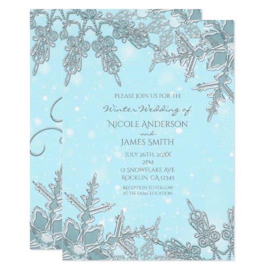 Blue Winter Wonderland Elegant Snowflakes Wedding Card