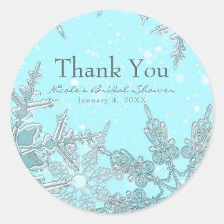 Blue Winter Wonderland Elegant Snowflakes Wedding Classic Round Sticker