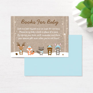 Blue Winter Woodland Animal Book Request Cards