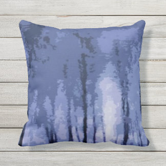 Blue Winter Woods Abstract Outdoor Pillow