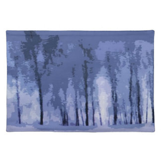 Blue Winter Woods Placemats