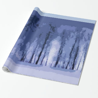 Blue Winter Woods Wrapping Paper