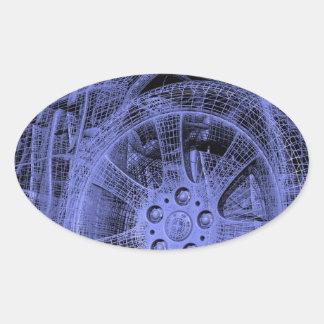 Blue Wireframe Tire Oval Sticker