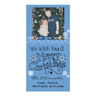 Blue Wish You Merry Christmas Photo Card