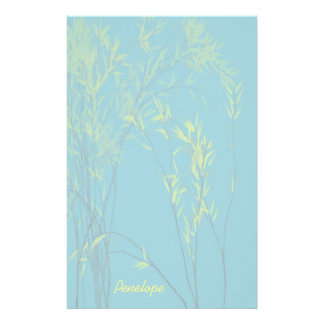 Blue Wispy Trees with Yellow Leaves Add Your Name Stationery