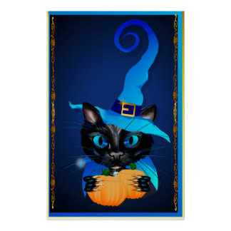 Blue Witch Kitty Poster