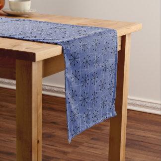 Blue with Black Starburst Atomic | Mid-Century Short Table Runner