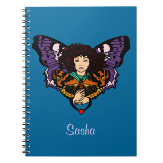Blue With Fairy And Name For Girls Notebook