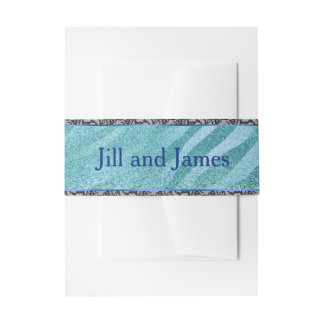 Blue with Faux Black Lace Invitation Belly Band