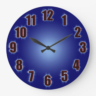 Blue with fiery red numbers large clock