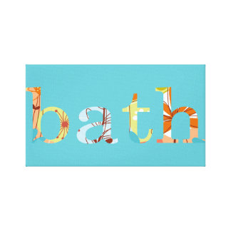 Blue with Flower Lettering for Bath Bathroom Canvas Print