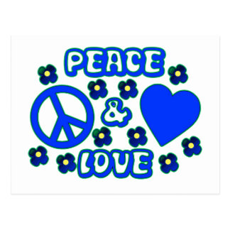 Blue with Flowers Peace and Love Design Postcard