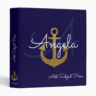 blue with golden anchor, nautical & custom vinyl binder