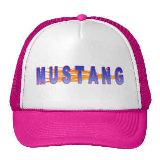 Blue With Pink Hue Mustang And Flames Trucker Hat