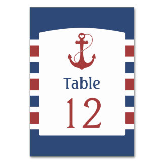 Blue with Red Anchor Table Number
