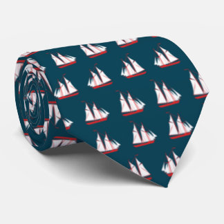 Blue With Red and White Sailboats Tie