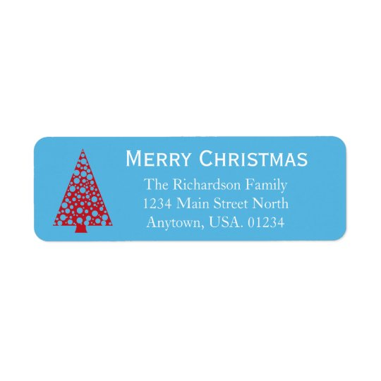 Blue With Red Christmas Tree Return Address Label