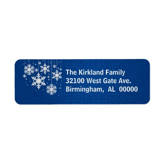 Blue with Snowflakes Holiday Address Labels