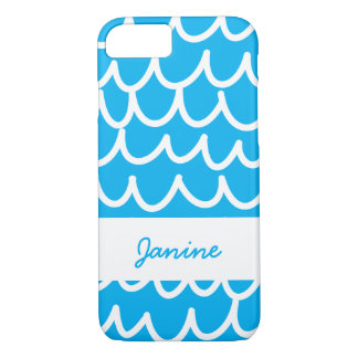 Blue With White Doodles iPhone 8/7 Case