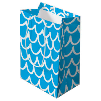 Blue With White Doodles Medium Gift Bag