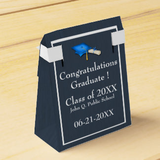 Blue with White Graduation Favor Box