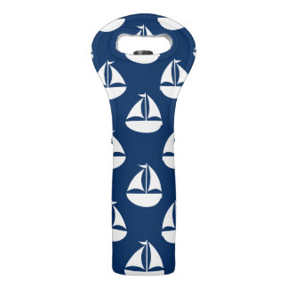 Blue With White Sail Boat Wine Bag