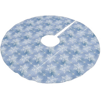Blue with White Snowflakes Brushed Polyester Tree Skirt