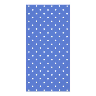 Blue with white stars. Pattern. Photo Greeting Card