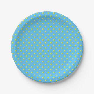 Blue with Yellow Polka Dots Paper Plate