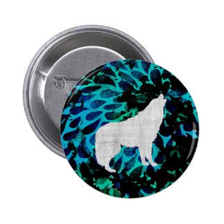 Blue Wolf 2 Inch Round Button