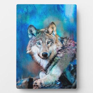 Blue Wolf Art Plaque