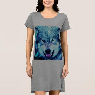 Blue wolf face dress