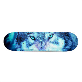 Blue wolf face skate board decks