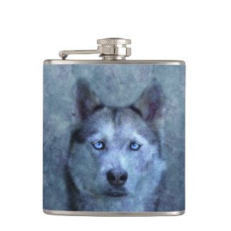 Blue wolf husky hip flask