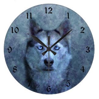 Blue wolf husky large clock