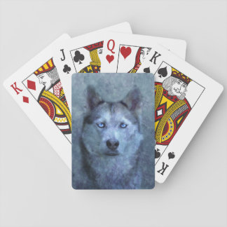 Blue wolf husky playing cards