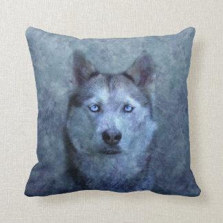 Blue wolf husky throw pillow