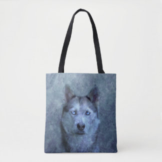 Blue wolf husky tote bag