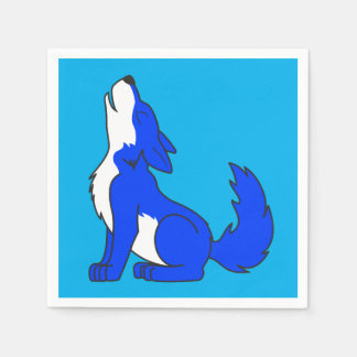 Blue Wolf Pup Howling Paper Napkins