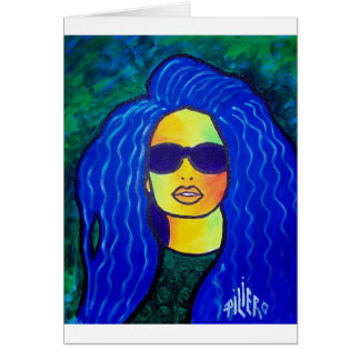 Blue Woman Sunglasses by Piliero Greeting Card