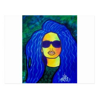 Blue Woman Sunglasses by Piliero Postcard
