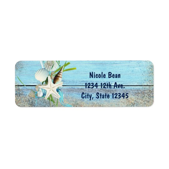 Blue Wood Beach Tropical Wedding Invitation Labels