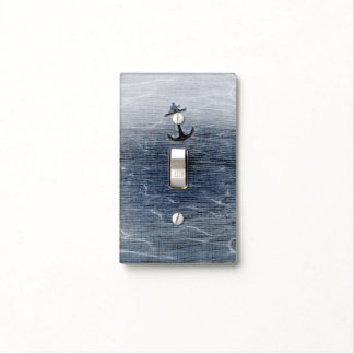 Blue Wood Elegant Nautical Beach Anchor Sea Water Light Switch Cover