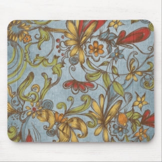 Blue Wood Flowers Mouse Pad