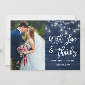 Blue Wood Lights Brush Script Love Thanks Wedding Thank You Card